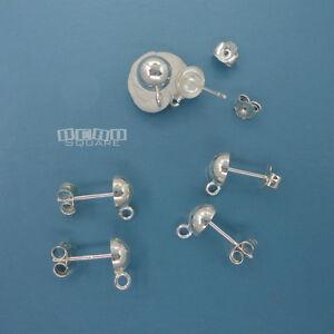 6PC Sterling Silver 6mm Round Half Ball Stud Post Earrings w/Loop Clutch #33513