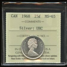 1968 Canada 25-cents Silver Quarter ICCS MS-65 UHC Ultra Heavy Cameo - Stunning!