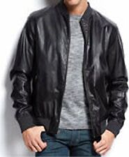 Alfani RED Men's Jacket Sz XXL Deep Black Faux Leather Slim Fit Insulated