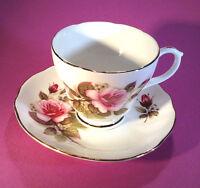 Duchess Teacup And Saucer - Deep Pink Roses - Gold Rims - Bone China England