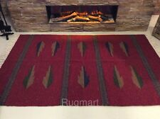 Ethnic DARK RED Blue Handmade Eco Recycled Cotton Rich Washable Kilim Rug Runner