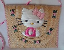 HELLO KITTY Handcrafted Embroidered Woven Straw Purse/ Shoulder Bag - RARE