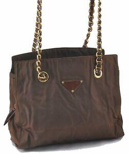 Authentic PRADA Nylon Leather Chain Shoulder Bag Brown E2722