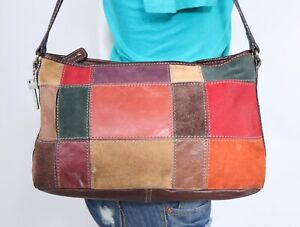FOSSIL Medium Multicolor Suede Leather Shoulder Hobo Tote Satchel Purse Bag
