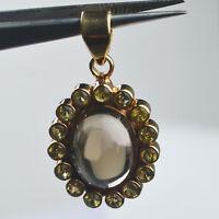 Smoky Quartz & Citrine gemstone Pendant 8.14 g Sterling Silver 925
