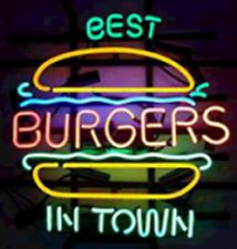 """24""""x20""""Best Burgers In Town Neon Sign Light Store Open Wall Decor Handcraft Art"""