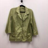 Zenergy By Chicos Womens Blazer Jacket Green Buttons Pockets Notch Lapel L