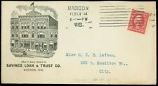 1914 THE SAVINGS LOAN & TRUST Co. ILLUST. Cover, Prez. Signed Letter MADISON, WI
