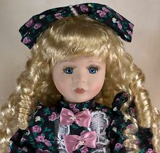 "Collector's Porcelain Doll 16"" Blond Hair Blue Eyes Long Eyelashes Chipped Thumb"