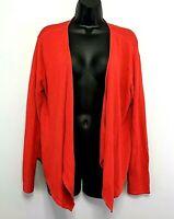 J Jill True Red Drape Style Cardigan Sweater Open Front Linen Modal Cotton sz M