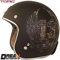 TORC T50 MATTE FLAT BLACK 13 WINGS 3/4 OPEN FACE MOTORCYCLE HELMET DOT XS - XXL