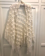 Vintage Hand Crocheted Cape Poncho Shawl Knitted White