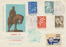 """ARGENTINIEN 1960 """"TEMEX 61"""" Internationale Ausstellung für Motivmarken - Blumen"""