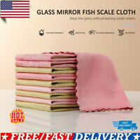 5x Fish Scale Wipe Rag For   Glass Housework Cleaning Cloth Random Color US