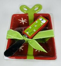 Real Home Bowl & Spreader Napkin Christmas Present Theme Cheese Butter Dip Bowl