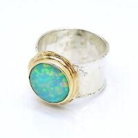 Hadar Designers Handmade 9k Yellow Gold 925 Silver Opal Ring 6,7,8,9,10 (I r137