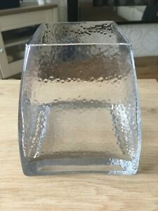 Lovely Square Based Shaped Clear Glass Vase.