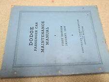 1935 Original Dodge Passenger Car Maintenance Manual