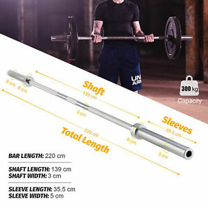 """7ft 3'' 220cm Olympic Straight Barbell for 2"""" Weight Plate Sets Strength Lifting"""