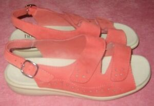 LADIES SIZE 6 CORAL SUEDE SANDALS HOTTER NEW NEVER WORN