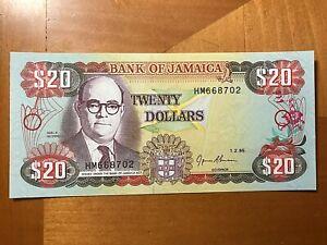 1995 $20 BANK OF JAMAICA CRISP UNCIRCULATED BANK NOTE