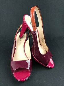 ANNE KLEIN Women's Wine Red/ Fuchsia LEATHER UPPER Peep Toe Heels/Pumps Size 7
