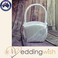 White Satin Flower Girl Basket with Diamantes, Wedding Flowergirl Basket