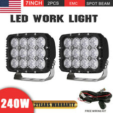 240W 7INCH Cree LED Driving Lights Spotlight Square Work Offroad Truck Jeep 4x4