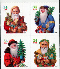 2001 34c Santa Claus, Christmas, Booklet Block of 4 Scott 3541-44 Mint F/VF NH
