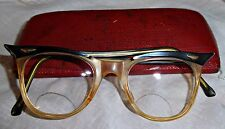 VINTAGE ORIGINAL 50S CATS EYE WINGED GLASSES & CASE ROCKABILLY