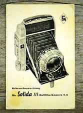 FRANKA WERK Kamera Bedienungsanleitung SOLIDA III User Manual (X6036