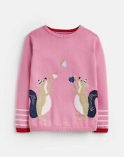 Joules Girls Bronty Knitted Jumper  - Blossom Pink Squirrel - 5Yr