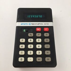 Vintage Sperry Remington 819 Calculator - Green Display-  Tested Works