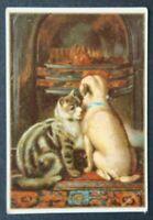 Chromo image publicitaire CHAT KATZE CAT CHIEN HUND DOG FEU Crochard Le Mans