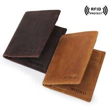 RFID Vintage Leather Wallet Bifold Men Money Clip Photo Card SIM Holder Purse