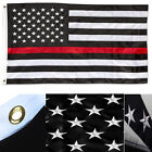 2x3 Embroidered USA Thin Red Line American 210D Sewn Nylon Flag 2'x3'