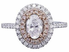 14k White Rose Gold Oval Cut Diamond Pink Diamonds Engagement Ring Halo 1.30cts