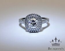 2 Carat Cushion Cut D/VVS1 Diamond Solitaire Engagement Ring White Gold Over