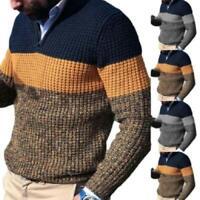 Herren High Rollkragen Pullover Pulli Sweatshirt Wärmer Strick Stretch Sweater D