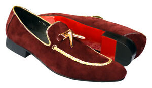 Fiesso Wine/Gold Suede Leather Metal Tassel Woven Smoking Loafer Size 13