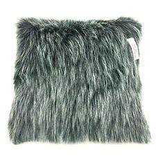 "Room Essentials Faux Fur Accent Toss Pillow Black 16"" x 16"""