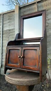 Beautiful Vintage Apprentice Piece Small Wooden Cupboard & Mirror (C1)