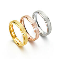 4MM Rose Gold/Silver Frosted Band Men Women Stainless Steel Wedding Ring Sz 5-10