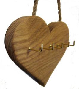 Oak Heart Key Rack Hanger Storage 5 Hooks Wall Mounted Rustic