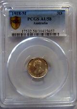 AUSTRALIA 1918 M 3d THREEPENCE PCGS AU58 92.5% SILVER  POP 9 CV $490