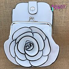 White Rose Purse Small bag with Phone Spectacles Holder Long & Short Straps