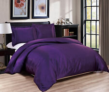 Chezmoi Collection 3-Piece Purple Bridal Satin Duvet Cover Set, Queen