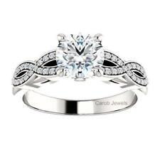 in 1 Ct Round Cut White Moissanite 14kt White Gold Twisted Shank Engagement Ring