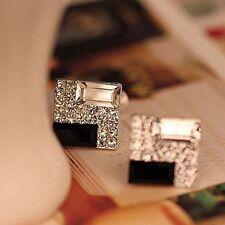 Women Black White Cube Rhinestone Elegant New Jewelry Ear Stud Gift Earrings