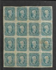More details for us confederate states stamps block of sixteen 10c blue scott #12 unused ref 4181